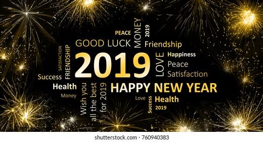 new year greeting card 2019