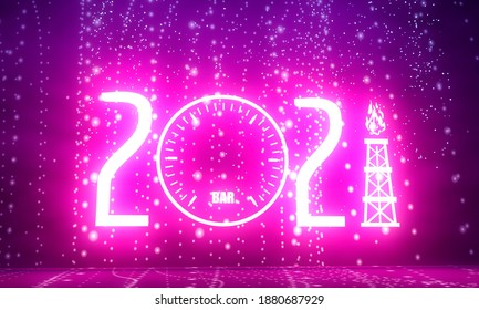New Year greeting card template. 2021 year number. Industrial concept. 3D rendering. Neon shine