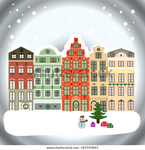 New year holidays. Winter houses, road, tree. Cute town Christmas eve. Winter in the city, christmas decor fir-trees. Greeting card, poster design. Cityscape. Winter nature landscape.