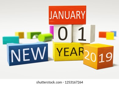 new year january thirst 2019 colorful building blocks 3d illustration