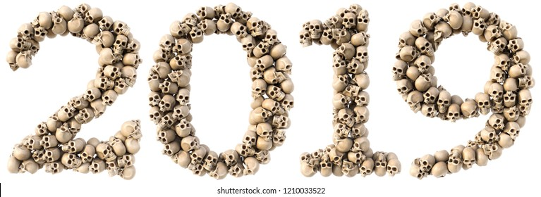 new year made from skulls. Isolated on white. 3D illustration.