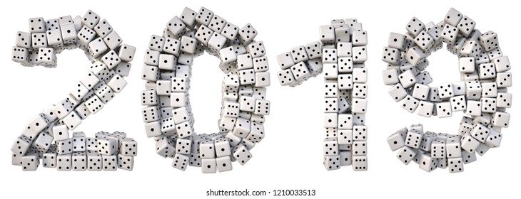 new year made from white dice. Isolated on white. 3D illustration.