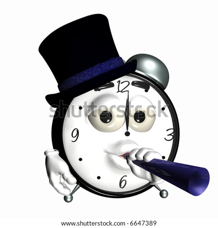 new year partying smiley clock a smiley alarm clock with a hat and noise maker