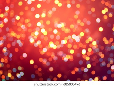 New year red bokeh template. Golden glitter on festive vibrant background. Lights and confetti texture.
