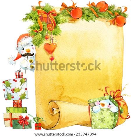 New Year Snowman Christmas Wish List Stock Illustration 235947394