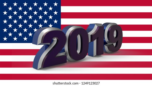 New year text 2019 with USA flag 3d illustration