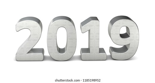 New year text silver 2019 3d rendering