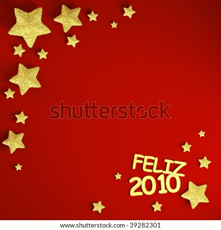 new year theme background with frame made of golden stars spanish text and copy space
