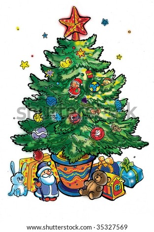 New Year Tree Cartoon Many Toys Stock Illustration 35327569