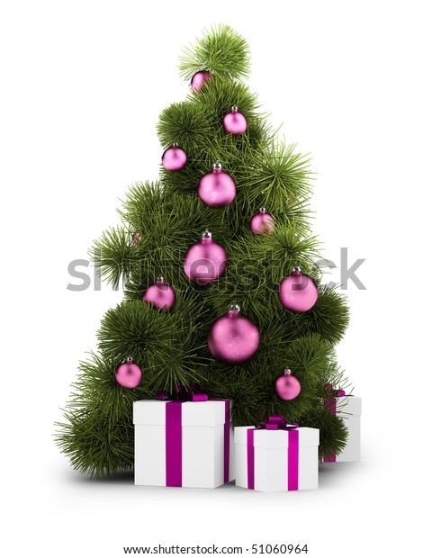 New Year tree with gifts and spheres on the isolated white background