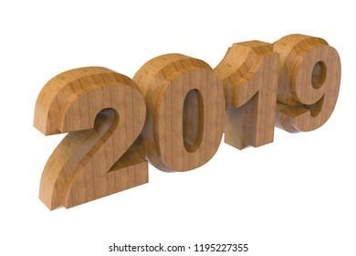 New year wooden text 2019 3d rendering