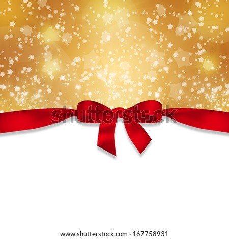 new years background red ribbon and snowflakes on abstract gold background