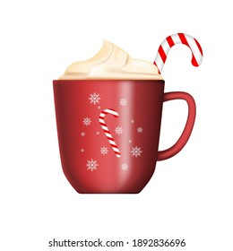 New Year's cup with lollipop isolated on white background. A mug of hot coffee in the cold winter. Merry Christmas and Happy New Year