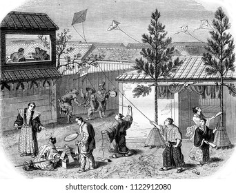 A New Year's scene in Japan, vintage engraved illustration. Magasin Pittoresque 1855.