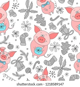 New Year`s  seamless pattern with pigs. Seamless  pattern  of Happy New Year and Christmas Day. Seamless pattern of doodle, for wrapping paper, cloth, background. bitmap
