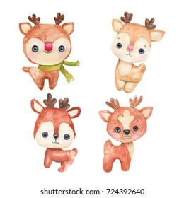 New Year's set of cute deer. Christmas reindeer. Watercolor hand painting Illustration isolated on white background. Can be used for celebration postcards.