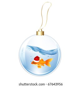 New Years Sphere With Goldfish, Isolated On White Background