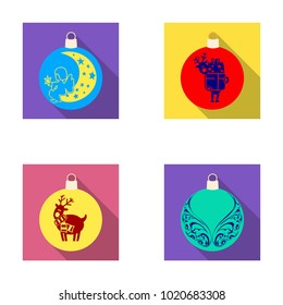 New Year's Toys flat icons in set collection for design.Christmas balls for a treebitmap symbol stock web illustration.