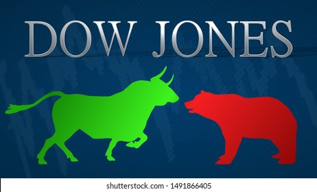 New York - AUG 2019: Illustration of standoff between the market's bulls and bears in the American stock market index Dow Jones. A green bull versus a red bear with a blue background and a chart.