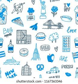 New York blue doodle seamless pattern