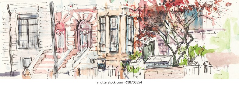 New York brick living house in Manhattan with blooming trees in summer. New York house. New York watercolor.
