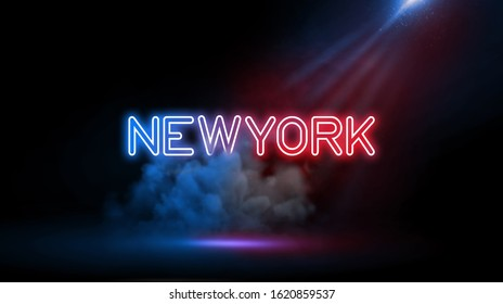 New York City comprises 5 boroughs sitting where the Hudson River meets the Atlantic Ocean | Country name in neon light effect, Studio room environment with smoke and spotlight.