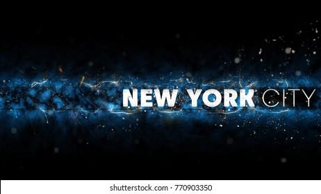 New York City Logo - Creative Illustration - Sparks at Night - Blue Version