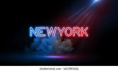 New York | City name in neon light effect, Studio room environment with smoke and spotlight.