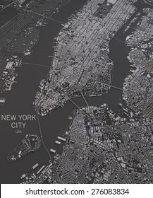 New York city, satellite map view, map in negative, 3d roads and buildings