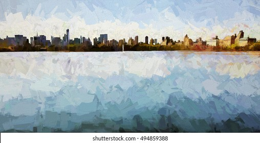 New York City skyline across the reservoir transformed into an abstract painting