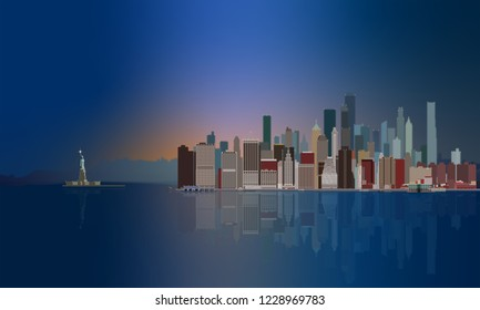 New York City Skyline with the Statue of Liberty at sunset with holiday lights and city reflection.