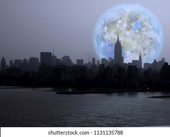New York City. Terraformed Luna Rise. 3D rendering