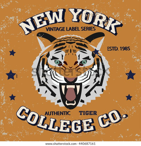 New york city typography, t-shirt graphics tiger authentic