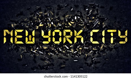 'NEW YORK CITY' written with small digits of an alarm clock. 3d illustration