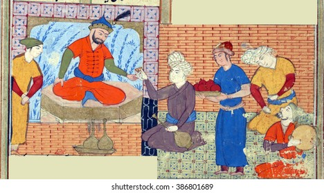 NEW YORK - DEC 11, 2015 -Zal (with a black beard) celebrates the birth of a son., Persian miniature from the Shahnamah