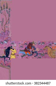 NEW YORK - DEC 12, 2015 - Rustam kills Suhrab, Persian miniature from the Shahnamah, Book of Kings