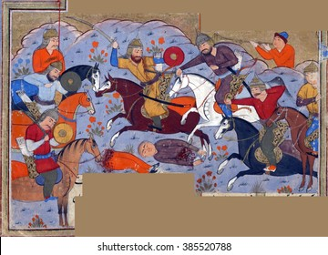 NEW YORK - DEC 12, 2015 - Manuchihr and his army defeat the forces of Kakvi, the grandson of Zahhak., Persian miniature from the Shahnameh