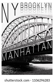 New York illustration photo print typography, tee shirt graphics