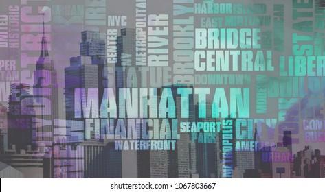 New York. Manhattan. Modern Art. 3D rendering