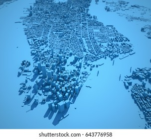 New York map, satellite view, United States, houses, neighborhoods. Blue backgrounds, 3d rendering