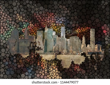 New York on abstract background. 3D rendering