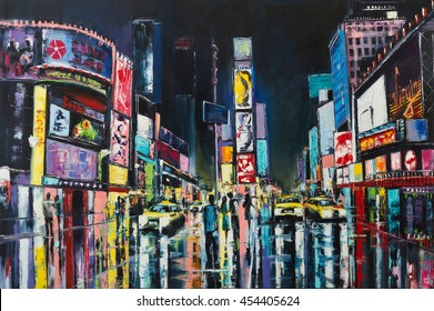 """New York"" Original oil painting, a night view of New York, Times Square."