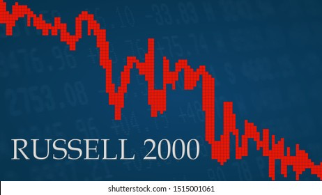 New York - SEP 2019: The American small-cap stock market index Russell 2000 is falling. The red graph next to the silver Russell 2000 title on a blue background shows downwards.