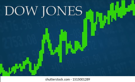 New York - SEP 2019: The U.S. stock market index Dow Jones is going up. The green graph next to the silver Dow Jones title on a blue background shows upwards symbolizing the ascent of the U.S. index.