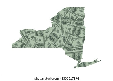 New York State Map and Money, Hundred Dollar Bills