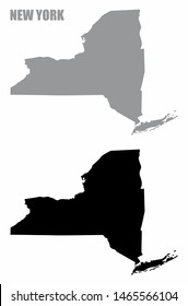 New York State silhouette maps isolated on white background