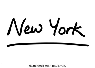 New York - a state in the United States of America, handwritten on a white background.