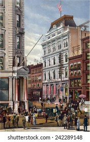 New York Stock Exchange in 1882 with telegraph office next door. Telegraph lines are at the street level, as well as on building tops, providing fast international communication.