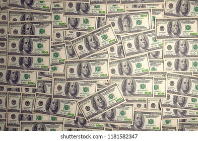 New York, United States - July 5, 2018: A pile of one hundred US banknotes with president portraits. Cash of hundred dollar bills, dollar background. 3D render. High quality illustration