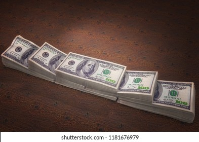 New York, United States - July 5, 2018: Stacks of Hundred US Dollars on wooden background. High quality 3d illustration